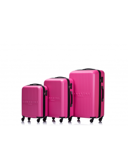 SOFIA - Set de 3 valises hot pink