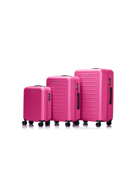 PARIS - Set de 3 valises hot pink